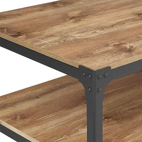 Walker Edison Furniture Co. Angle Iron Rustic Wood Coffee