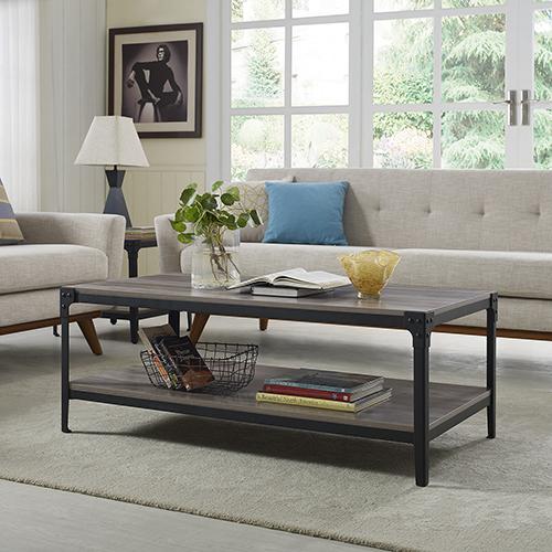 Merveilleux Walker Edison Furniture Co. Angle Iron Rustic Wood Coffee Table   Grey Wash