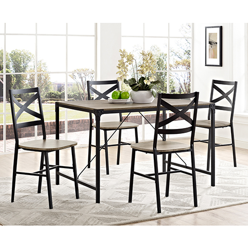 Walker Edison Furniture Co. 5-Piece Angle Iron Wood Dining Set - Driftwood