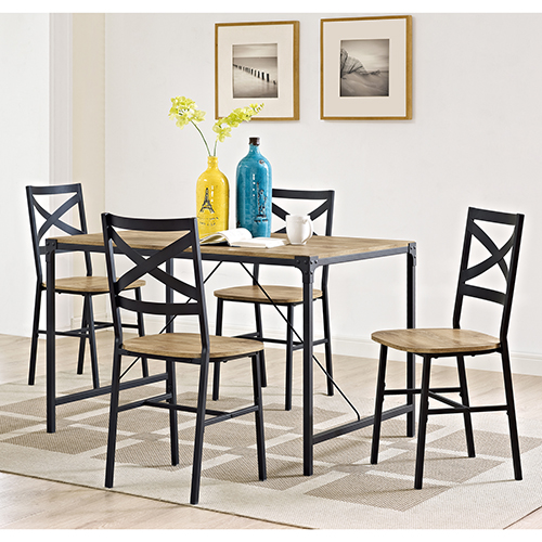 Walker Edison Furniture Co. 5-Piece Angle Iron Wood Dining Set - Barn wood