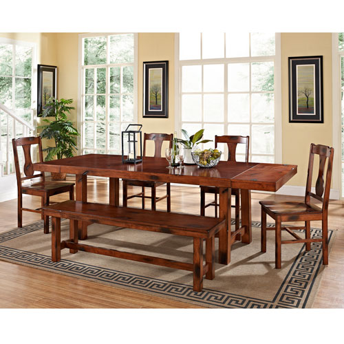 Walker Edison Furniture Co. Six Piece Huntsman Wood Dining Set