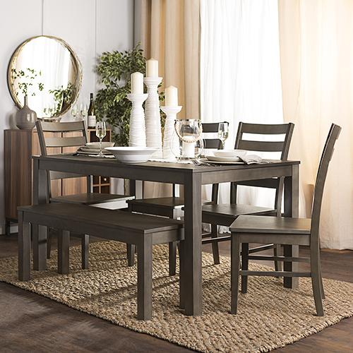Angelo HOMEstead 6 Piece Wood Dining Set - Aged Grey