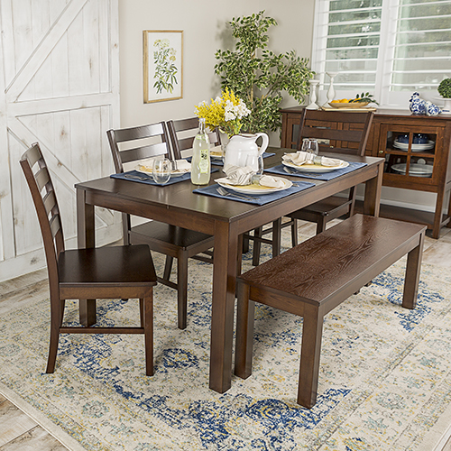 Angelo HOMEstead 6 Piece Wood Dining Set - Walnut