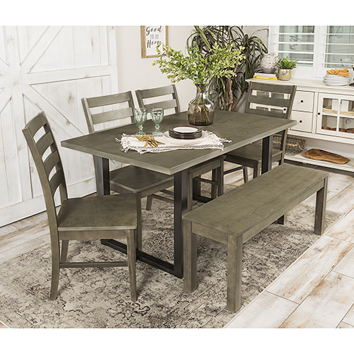 Walker Edison Furniture Co. Madison 6 Piece Wood Dining Set - Aged Grey