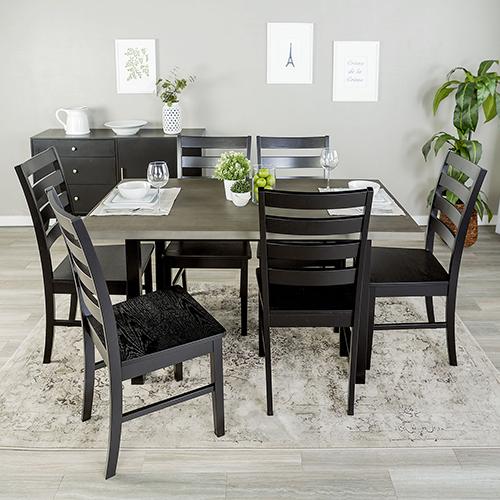 Madison 7 Piece Wood Dining Set - Aged Grey/Black
