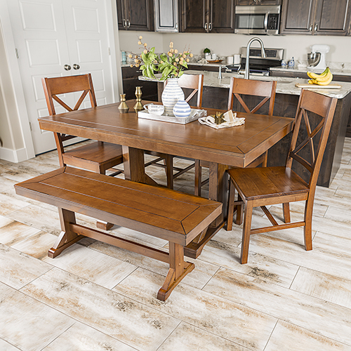 Walker Edison Furniture Co. Millwright 6 Piece Wood Dining Set - Antique Brown