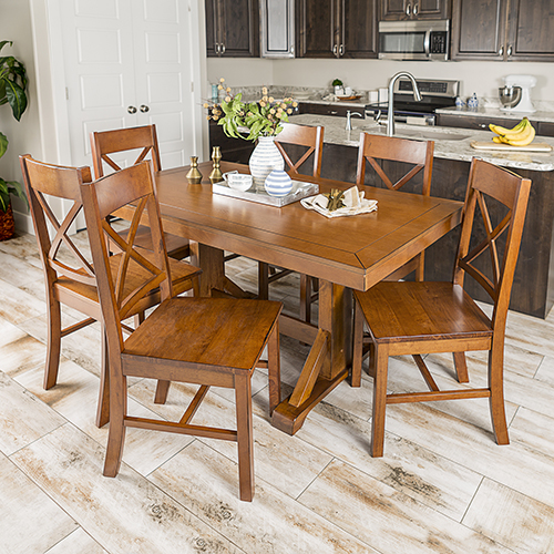 Walker Edison Furniture Co. Millwright 7 Piece Wood Dining Set - Antique Brown
