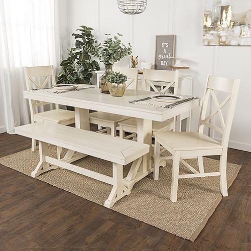 Millwright 6 Piece Wood Dining Set - Antique White