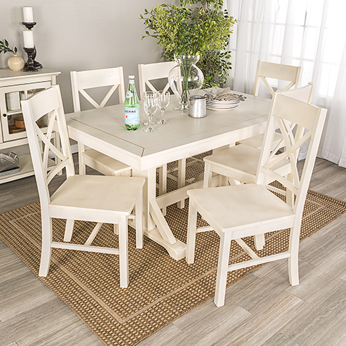 Walker Edison Furniture Co. Millwright 7 Piece Wood Dining Set   Antique  White