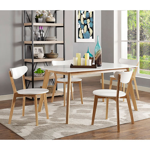 Walker Edison Furniture Co. 5  Piece Retro Modern Wood Dining Set
