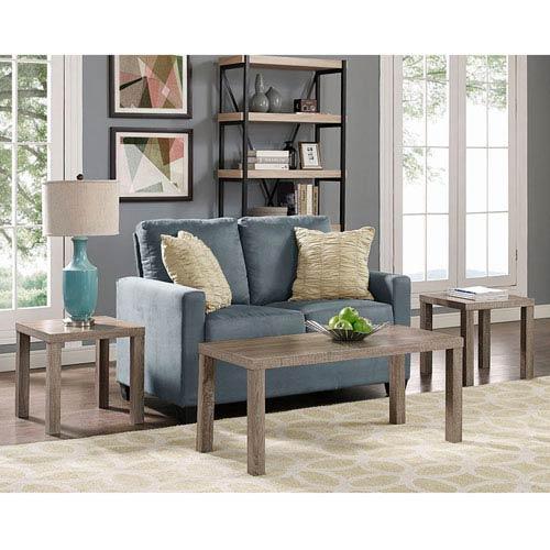 Walker Edison Furniture Co Essential Wood 3 Pack Table Set Driftwood