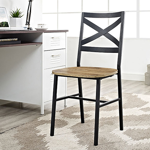 Metal X-Back Wood Dining Chair, Set of 2, Barn wood