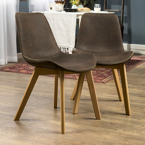 Suede Side Chair with Edge Stitching, Set of 2 - Brown