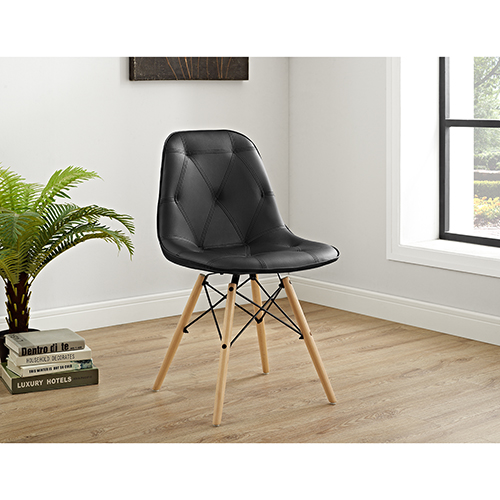 Tufted Faux Leather Chairs, Black - Set of 2
