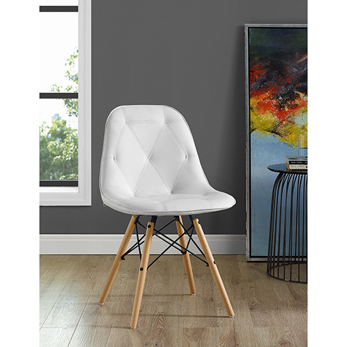 Walker Edison Furniture Co. Tufted Faux Leather Chairs, White - Set of 2