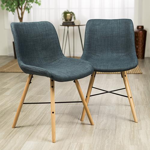 Upholstered Linen Side Chair, Set of 2 - Blue