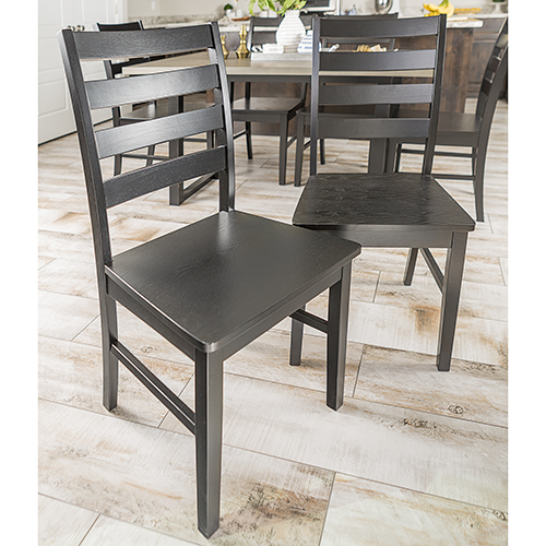 Walker Edison Furniture Co. Wood Ladder Back Dining Chair, Set of 2 - Black