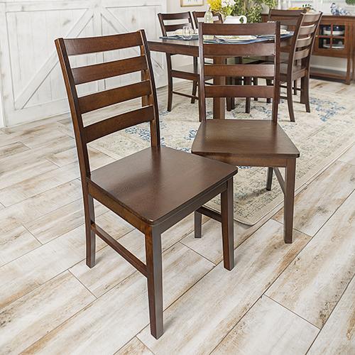 Wood Ladder Back Dining Chair, Set of 2 - Walnut