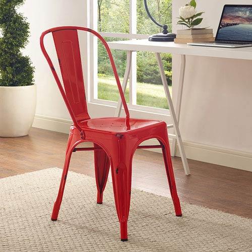 Metal Café Chair - Red