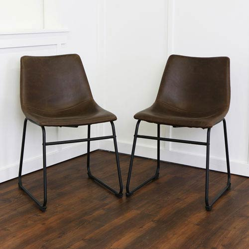 Brown Faux Leather Dining Chairs - Set of 2