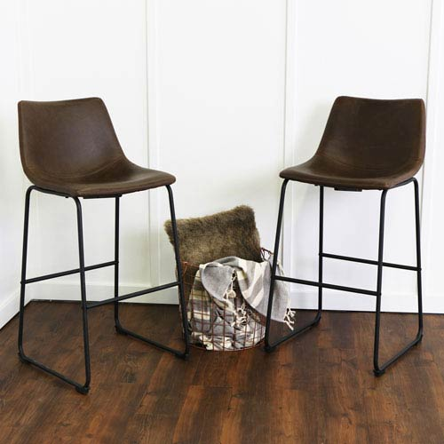 Brown Faux Leather Barstools - Set of 2