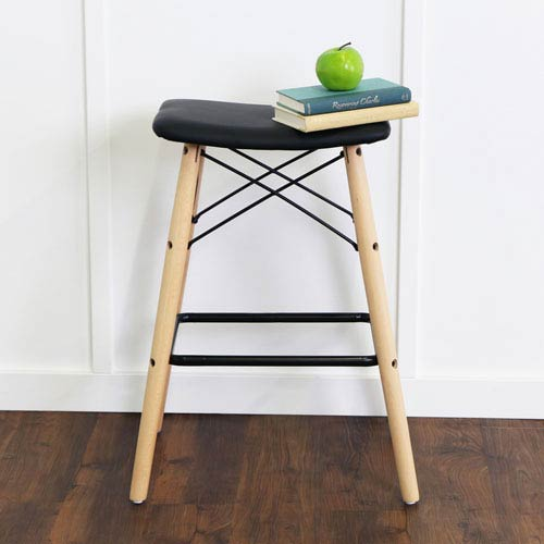 Retro Modern Faux Leather Counter Stool