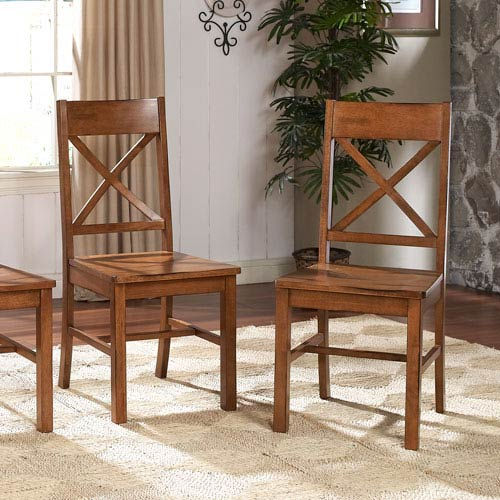 Walker Edison Furniture Co. Antique Brown Millwright Dining Chair, Set of 2