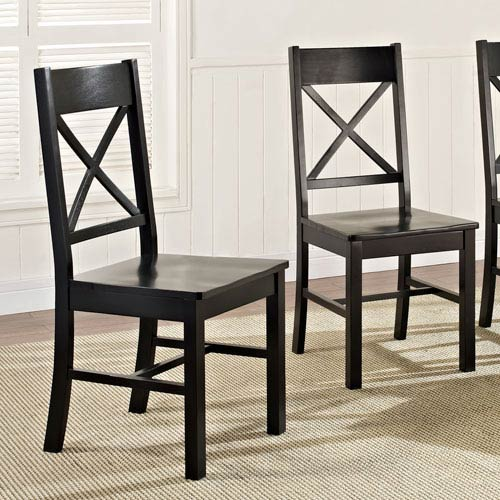 Black Wood Dining Chairs, Set of 2