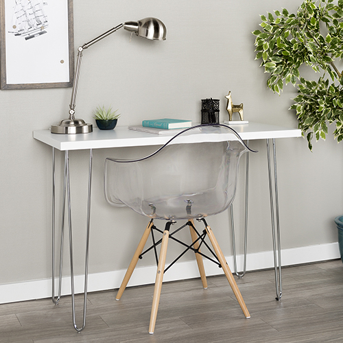 Walker Edison Furniture Co. 42-Inch Hairpin Leg Wood Writing Desk - White
