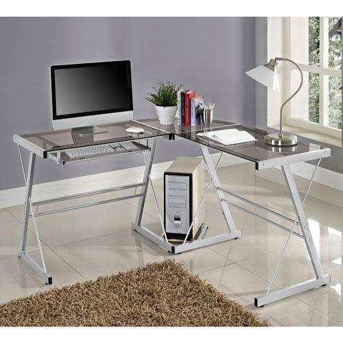 Merveilleux Walker Edison Furniture Co. 3 Piece Contemporary Desk   Silver/Smoke