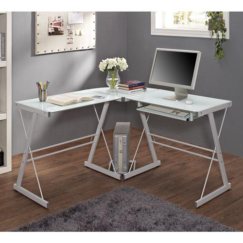 White Glass Corner Computer Desk