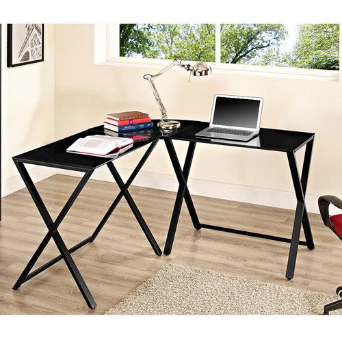 X-frame Glass and Metal L-Shaped Computer Desk - Black