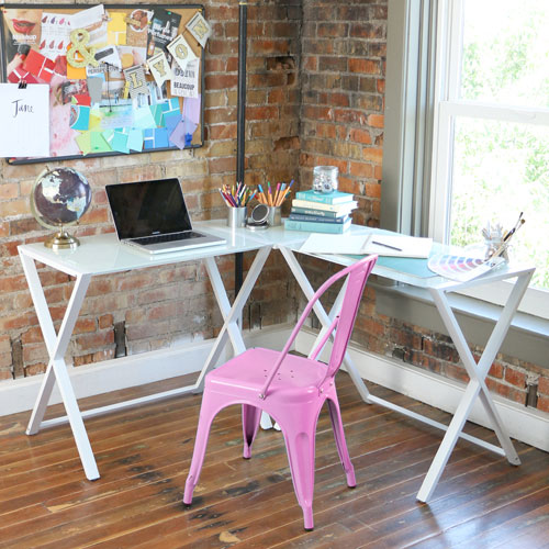 X-frame Glass and Metal L-Shaped Computer Desk - White