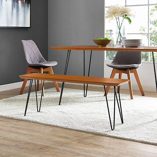Walker Edison Furniture Co 56 Inch Hairpin Dining Bench Walnut