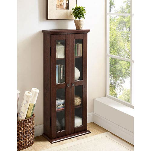 41-inch Wood Media Cabinet - Traditional Brown