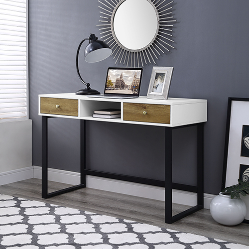 44-Inch Modern Two-Tone Desk With Drawers- White/Barn wood
