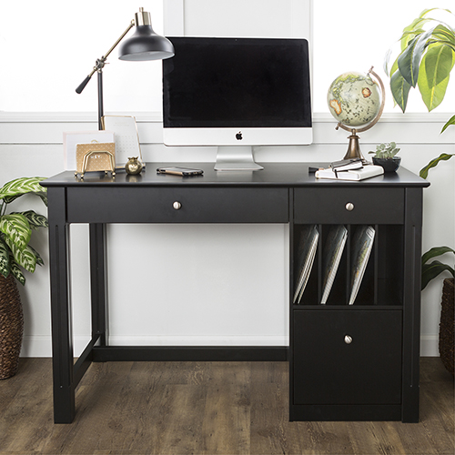 Walker Edison Furniture Co Angelo Home Office Deluxe Wood Storage Computer Desk Black