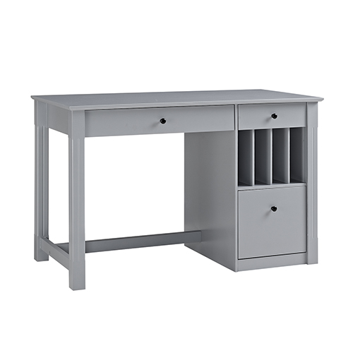 Walker Edison Furniture Co Angelo Home Office Deluxe Wood Storage Computer Desk Grey