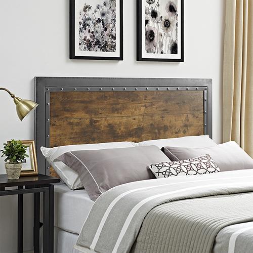 Queen Size Industrial Wood and Metal Panel Headboard - Brown