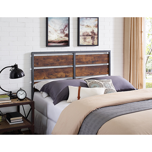 Walker Edison Furniture Co. Queen Size Metal and Wood Plank Panel Headboard - Brown