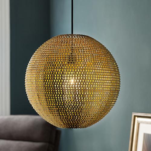 Walker Edison Furniture Co. 16-Inch Globe Sparkle Pendant - Gold