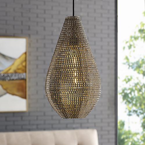 Walker Edison Furniture Co. 20-Inch Drop Style Sparkle Pendant - Nickel