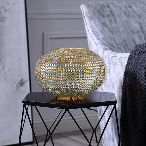 8-Inch Globe Sparkle Table Lamp - Gold