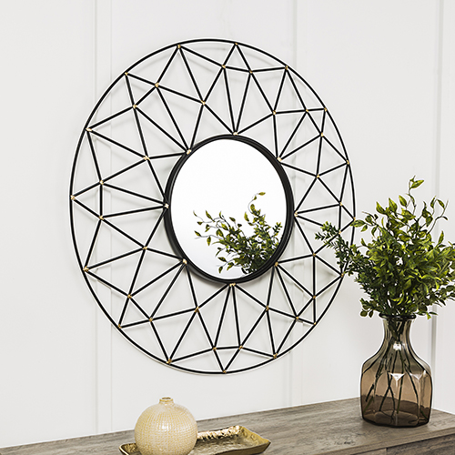 Walker Edison Furniture Co. 35-Inch Round Geometric Frame Mirror with Gold Accents
