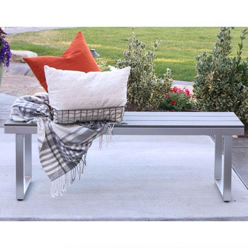 Walker Edison Furniture Co. All Weather Grey Patio Dining Bench