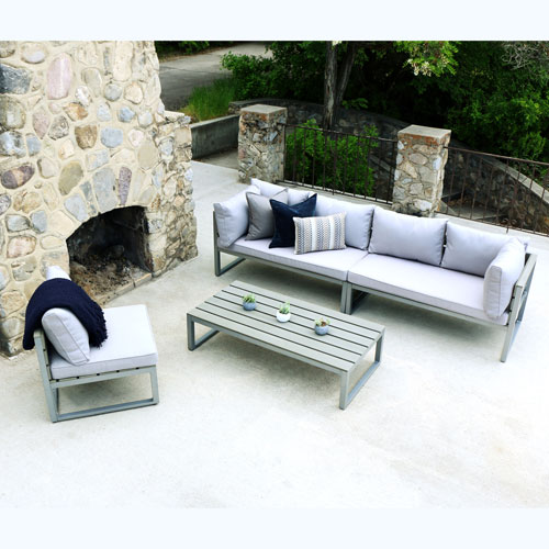 4-Piece All-Weather Patio Conversation Set - Grey