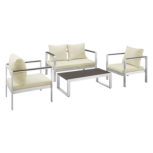 4-Piece Mod Style Chat Set with Cushions - Silver/Espresso