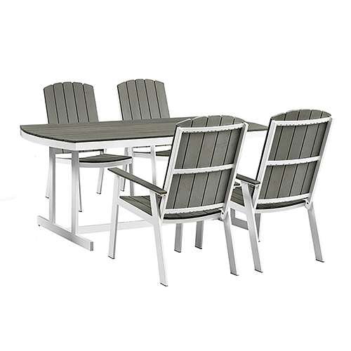 5-Piece Coastal Outdoor Dining Set - Grey/White