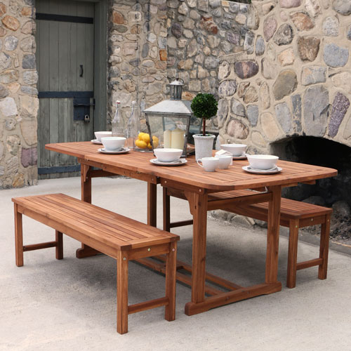 3-Piece Brown Acacia Patio Dining Set