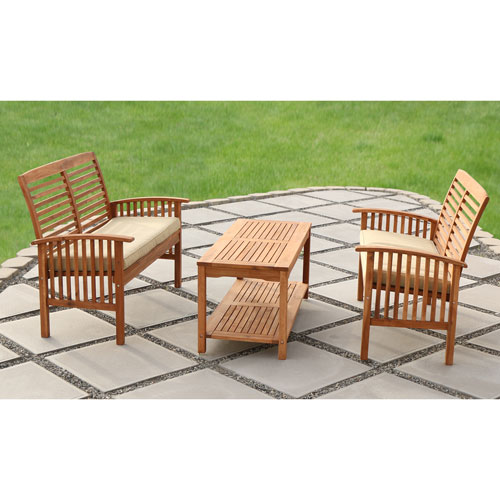 Walker Edison Furniture Co. 3-Piece Brown Acacia Patio Conversation Set